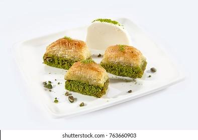 Turkish Ramadan Dessert Baklava, Ice Cream Presented, White Background, Antep Baklava