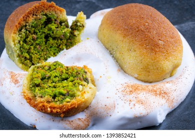 Turkish ramadan dessert with pistachio