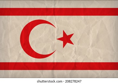 Turkish Republic of Northern Cyprus flag pattern on the paper texture ,retro vintage style