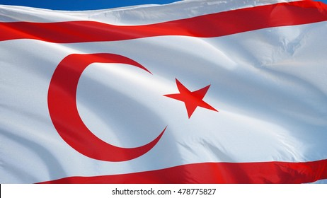 Turkish Republic of Northern Cyprus flag against clean blue sky, close up, isolated with clipping path mask alpha channel transparency