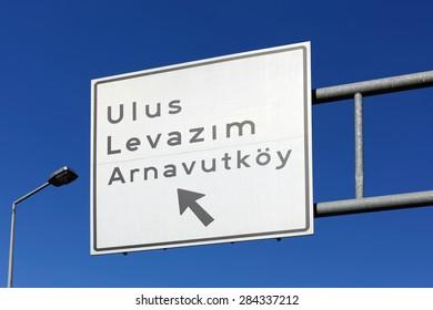 Turkish Road Signboard, Levent in Istanbul / TURKEY