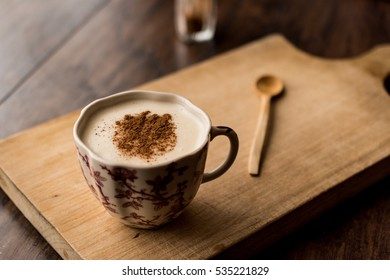 Turkish Salep on a wooden surface.
