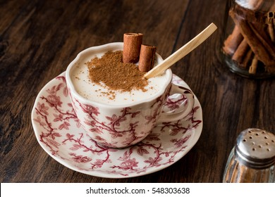 Turkish Salep or Sahlep with cinnamon sticks / Christmas Eggnog.