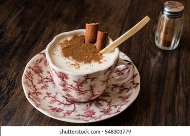 Turkish Salep or Sahlep with cinnamon sticks / Christmas Eggnog.