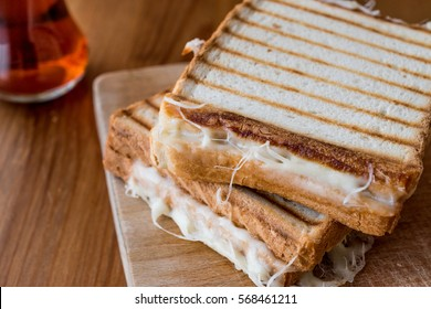 Turkish Sandwich Toast (Tost) with cheddar or melted cheese and tea