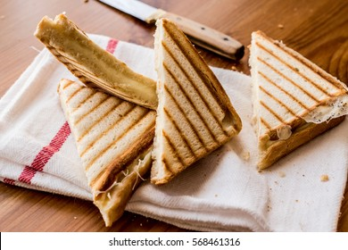 Turkish Sandwich Toast (Tost) with cheddar or melted cheese.