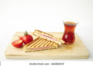 Turkish Sandwich Toast (Tost) with cheddar or melted cheese and Turkish tea