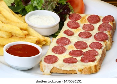 Turkish sausage sucuk and cheese on toast bread