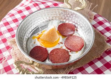Turkish Sausage (sucuk) and egg