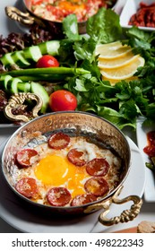 Turkish Sausage (sucuk) and egg with hot butter
