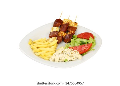 Turkish sausage sucuk on skewery