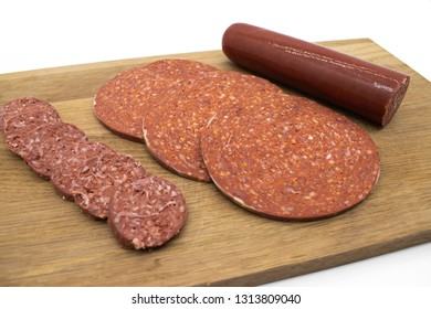 Turkish Sausage. Sucuk on the wooden table.