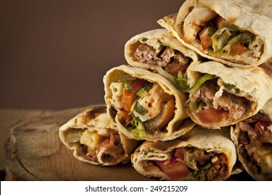 Turkish Shawarma durum Traditional sish kebab wrap