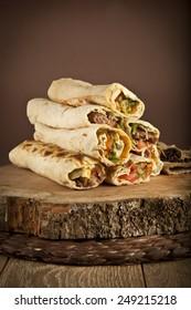 Turkish Shawarma durum Traditional sish kebab wrap