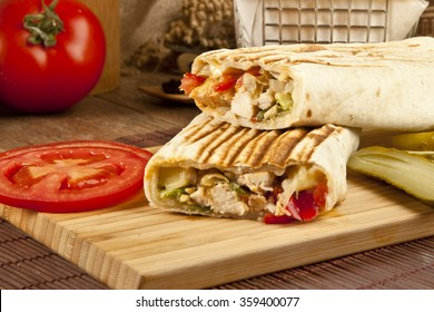 Turkish Shawarma durum Traditional sish kebab wrap and kofte meatball