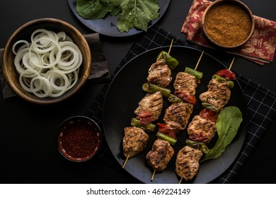 Turkish Shish Kebab / Chicken Skewers. (Dark Moody Photography.)