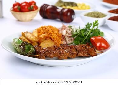 Turkish Shish kebab - Grilled beef meat on skewers