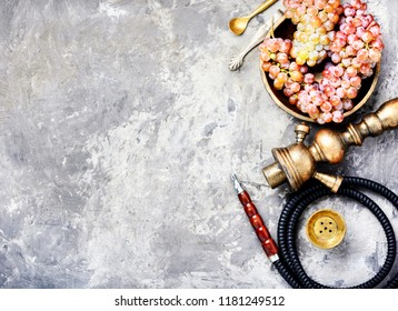 Turkish shisha hookah with aroma grapes for relax.Grapes shisha