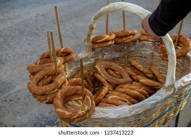Turkish Simit Bagel in basket.Bagel is traditional Turkish bakery food, other name is simit.