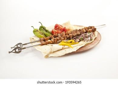Turkish Sis Kebab isolated white background