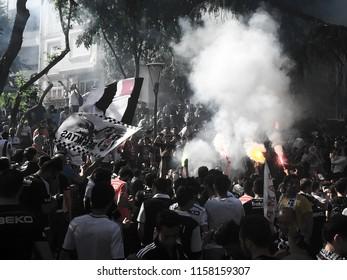 Turkish soccer fans. Fans of the Besiktas football team. Besiktas neighborhood. Istanbul. Turkey. July 2017.