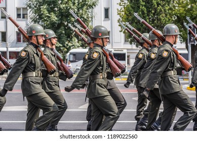 Turkish soldiers march for Military parade at Turkish 30 August Victory day.Soldiers in formation in Istanbul,Turkey.30 August 2018