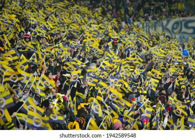 Turkish spectators supported 40 thousand women, girls and children fans in the Manisaspor match on 20.09.2011 at Fenerbahçe Football team in Istanbul Şükrü saracoğlu stadium.
