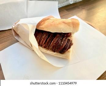 Turkish Street Food Kokorec made with sheep bowel.