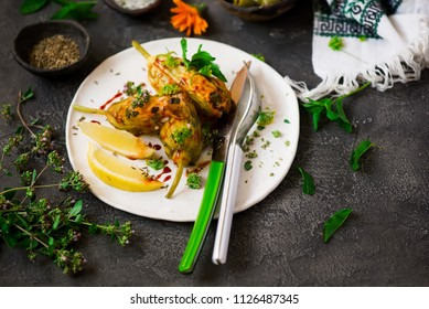 Turkish  stuffed zucchini flowers .selective focus. food gathering