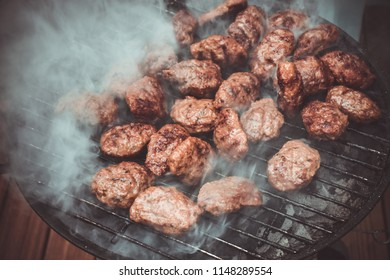 Turkish style meatball barbecue, mangal