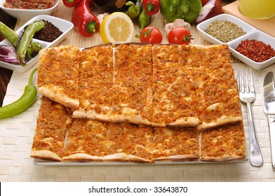 A Turkish style Minced lamb and Pine Kernels pizza