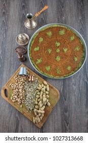 Turkish sweet kadaif with pistachio nuts