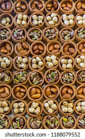Turkish sweet pastry variety  Perfect symmetry found in desserts made in Turkish bakeries