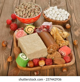 Turkish sweets on a brown background