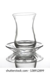 Turkish tea glass isolated on white background