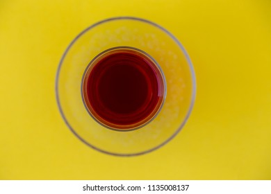 Turkish tea on a yellow background top view.