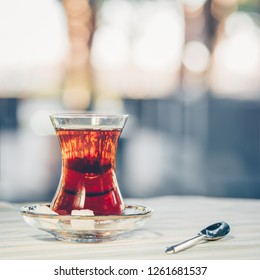 Turkish tea outdoor. Turkish cuisine and travel  concept. Square, light cool toning