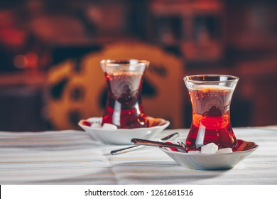 Turkish tea in the restaurant. Turkish cuisine and travel  concept. Horizontal