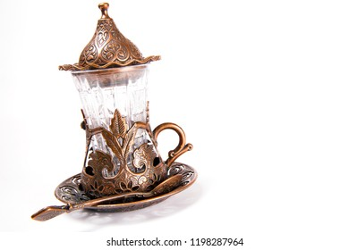 Turkish tea set. Ottoman teacup with traditional arabic ornaments on white background