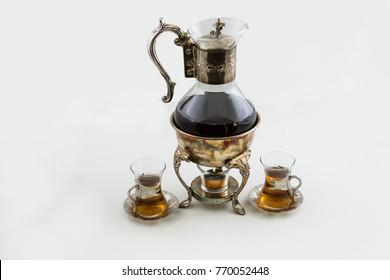 Turkish tea set with tea pot and glasses