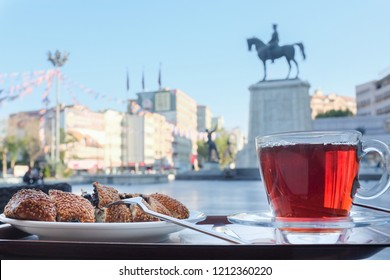 Turkish tea and simit (Turkish bagel) in Ulus Square - Ankara, Turkey