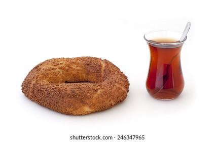 Turkish Tea and Turkish traditional sesame bagel ( Simit )