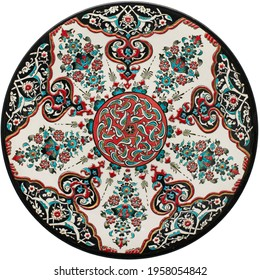Turkish Tile Plate Decorative Plates for Wall Art Ethnic Objects of Interior Decor Isolated on White Background