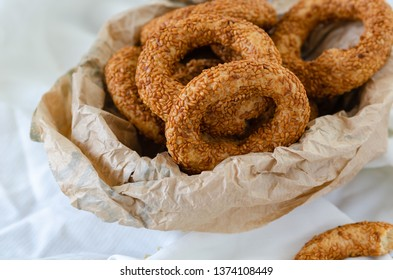 Turkish Traditional Bagel Kandil Simidi / Simit with Sesame Seeds.They are usually eaten on the night of five holy Islam.