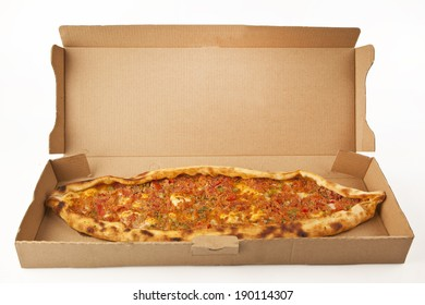 Turkish traditional beef Pide in pizza box isolated