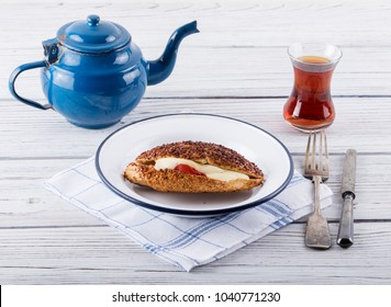 turkish traditional breakfast with kumru in izmir