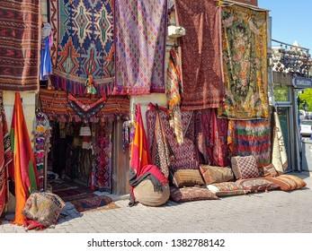 Turkish traditional carpet store front in Capadocia.