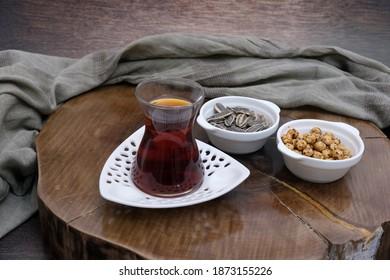 turkish traditional delicious tea and cookie, bursa city taste pleasure