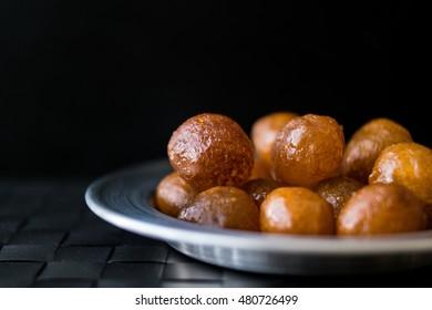 Turkish Traditional Dessert Lokma.