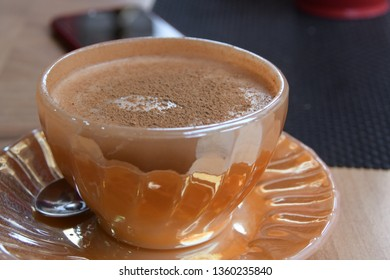 Turkish traditional drink Salep cup with cinnamon